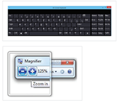 Graphical image of an onscreen key board and magnifier.