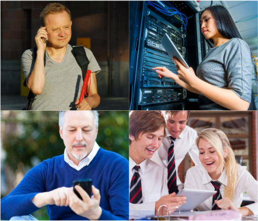 collage of people from many ages and backgrounds using different devices.